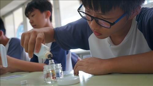 嘉興國中的同學相當專注將碘液滴入小玻璃瓶內