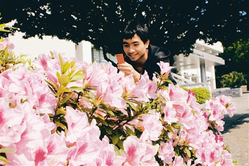 校園裡櫻花已經盛開,杜鵑也陸續開放。