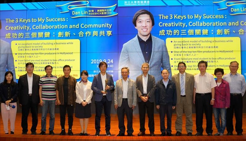 19-Mr. Dan Lin於守謙國際會議中心有蓮廳會場, 與前來聆聽演講的本校主管合影。(馮文星攝影)