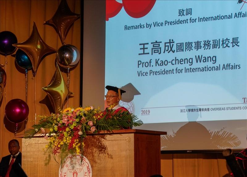 2019境外生畢業典禮,王高成國際事務副校長致詞。