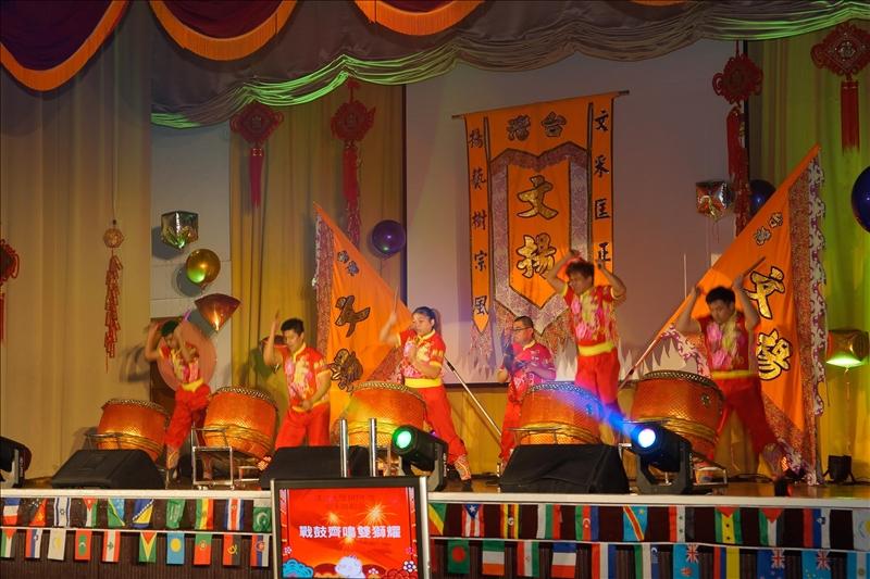 107年度歲末聯歡會-第1個節目「戰鼓齊鳴雙獅躍」,邀請台灣文揚龍獅團(也是中華台北國家代表隊選手,全國唯一南獅國手)表演。