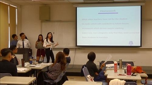 學生分組上台報告給予回家作業的注意事項