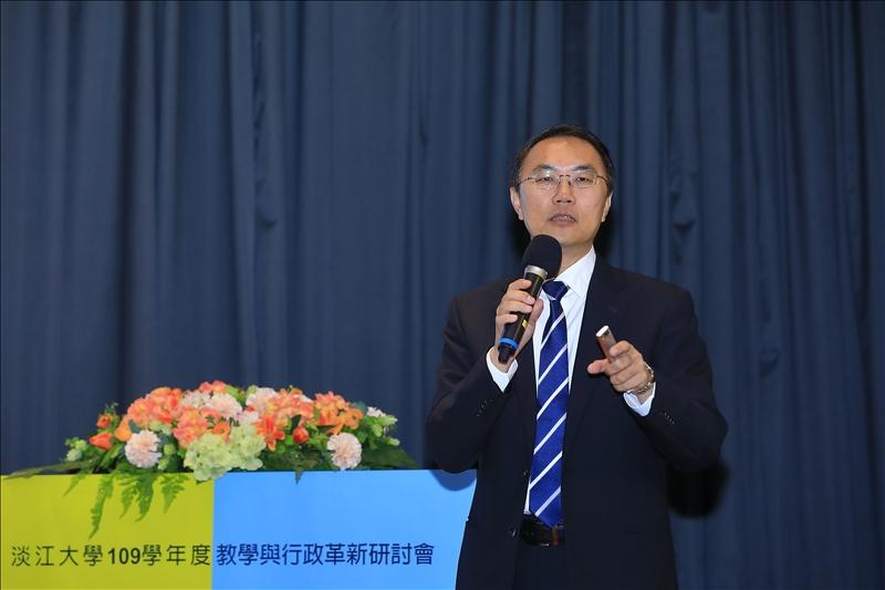 教務長林俊宏以「轉型中的教務工作:創新與超越」為題,進行專題報告(攝影/淡江時報社游晞彤)