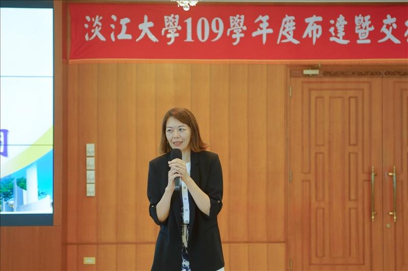 新任二級主管致詞,邀請國際暨兩岸交流組朱心瑩組長發表感言。(秘書處馮文星拍攝)
