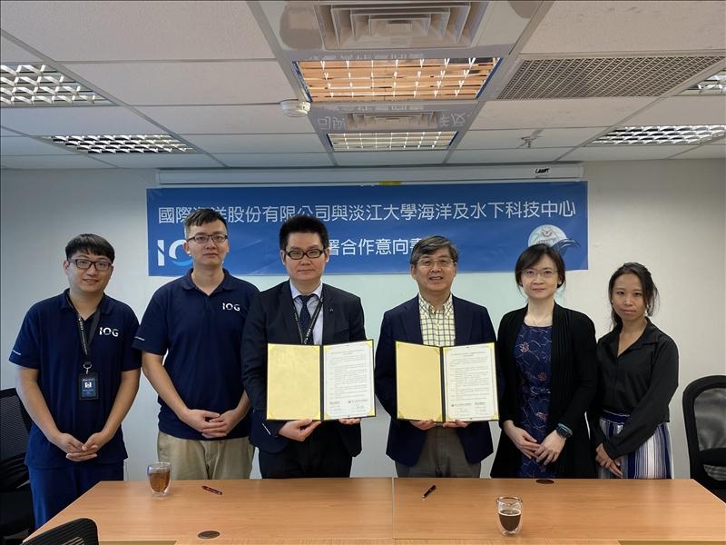海洋與水下科技中心與海洋國際簽訂產學合作MOU後合影留念。(圖/海洋與水下科技中心提供)