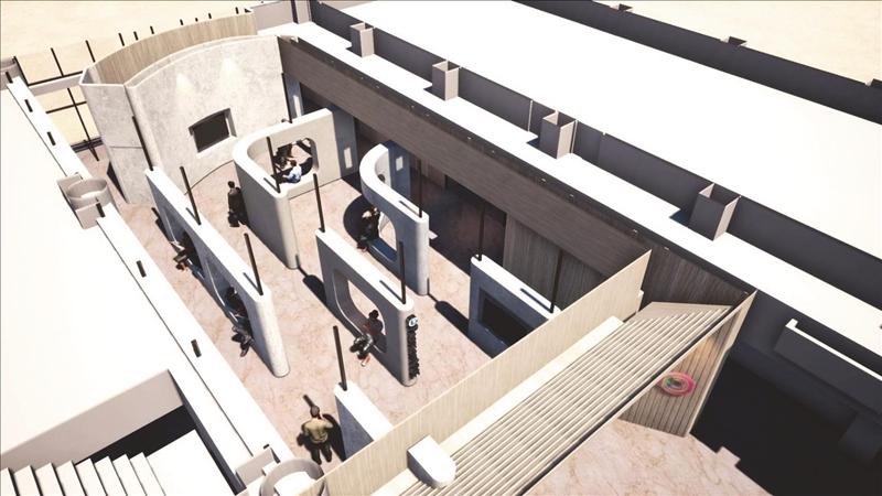 AI創智學院之4個實境場域設有展示場域、體驗場域、Hands-on labs、證照考場4個實體中心,本圖為4個空間配置的3D示意圖。(圖/工學院提供)