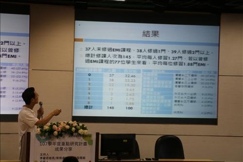 鍾智林教授說明學生首修英語授課的成績與再次修課意願呈現正相關