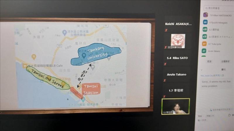 淡江學生向日方學生說明淡江大學位置。(圖/國際暨兩岸事務處提供)