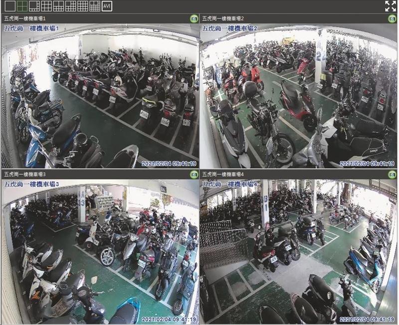 五虎崗機車停車場一樓2月2日新設7支高畫質監視器,全天候掌握停車場狀況。(圖/事務整備組提供)