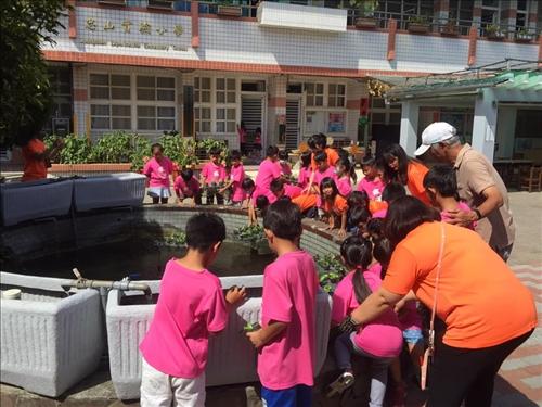 學生動手擺放蔬菜小盆栽